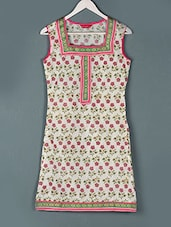 Floral Printed Sleeveless Cotton Kurti - Paislei