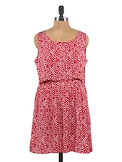 Red Printed Sleeveless Polyester Dress - Globus
