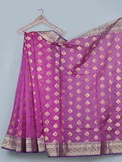 Leaf Pattern Jacquard Weave Cotton Silk Saree - BANARASI STYLE