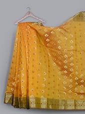 Leaf Pattern Jacquard Weave Cotton Silk Saree - BANARASI STYLE