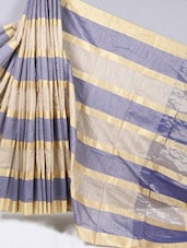 Gold & Blue Striped Cotton Silk Saree - BANARASI STYLE