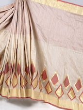 Pin Striped Geometric Print Cotton Silk Saree - BANARASI STYLE