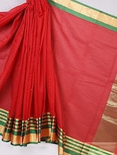 Zari Stripe Bordered Cotton Silk Saree - BANARASI STYLE