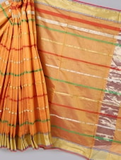 Orange Striped Woven Cotton Silk Saree - BANARASI STYLE