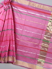 Pink  Striped Woven Cotton Silk Saree - BANARASI STYLE