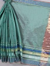 Teal Green   Striped Border Cotton Silk Saree - BANARASI STYLE
