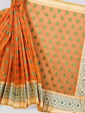 Orange Floral Border Art Silk Saree - Prabha Creations