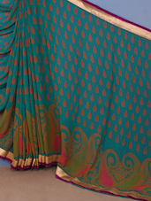 Paisley Printed Georgette Saree - Inddus