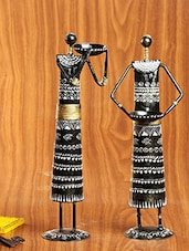 Black And White Handpainted Metal Lady Figurines - Set Of 2 - By