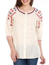 White Embroidered Cotton Top - Mustard