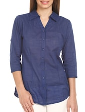 Dark Blue Three- Fourth Sleeves Cotton Shirt - Mustard