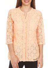 Peach Three-fourth Sleeves Lace Top - Mustard