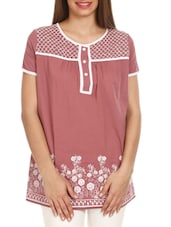 Rust Pink Embroidered Cotton Top - Mustard