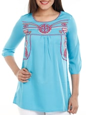 Turquoise Blue Embroidered Cotton Top - Mustard