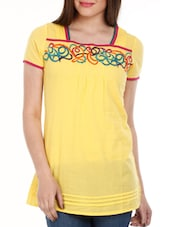 Yellow Embroidered Cotton Top - Mustard