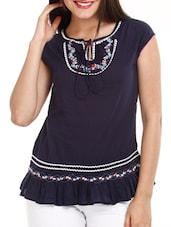 Navy Blue Embroidered Cotton Top - Mustard