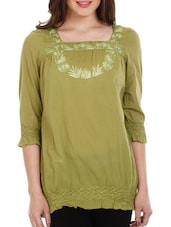 Olive Green Embroidered Cotton Top - Mustard