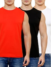 solid cotton lycra t-shirt (set of 3) -  online shopping for T-Shirts