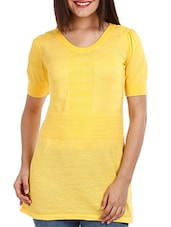 Yellow Short Sleeves Cotton Top - Mustard