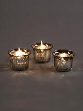 Metallic Silver Glass Candle/Tealight Holder - Hosley