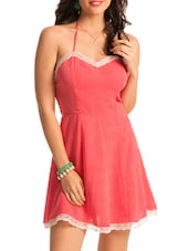 Halter Neck Lacy Border Dress - PrettySecrets