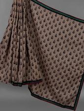 Multi Colour Striped Border Printed Ghicha Silk Saree - JBT