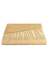 Beige Pleated Party Clutch - Spice Art