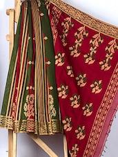 Mehendi Green And Red Matka Silk Saree - ANKUSH