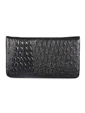 Leather Embellished  Black Clutch - Sale Mantra