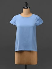 Solid Blue Top With Pin-tuck Sleeves - Phenomena