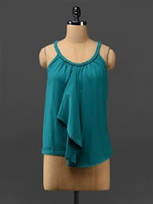 Teal Halter-neck Ruffled Top - By