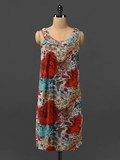 Multicoloured Printed Dress With Pleated Back - Phenomena