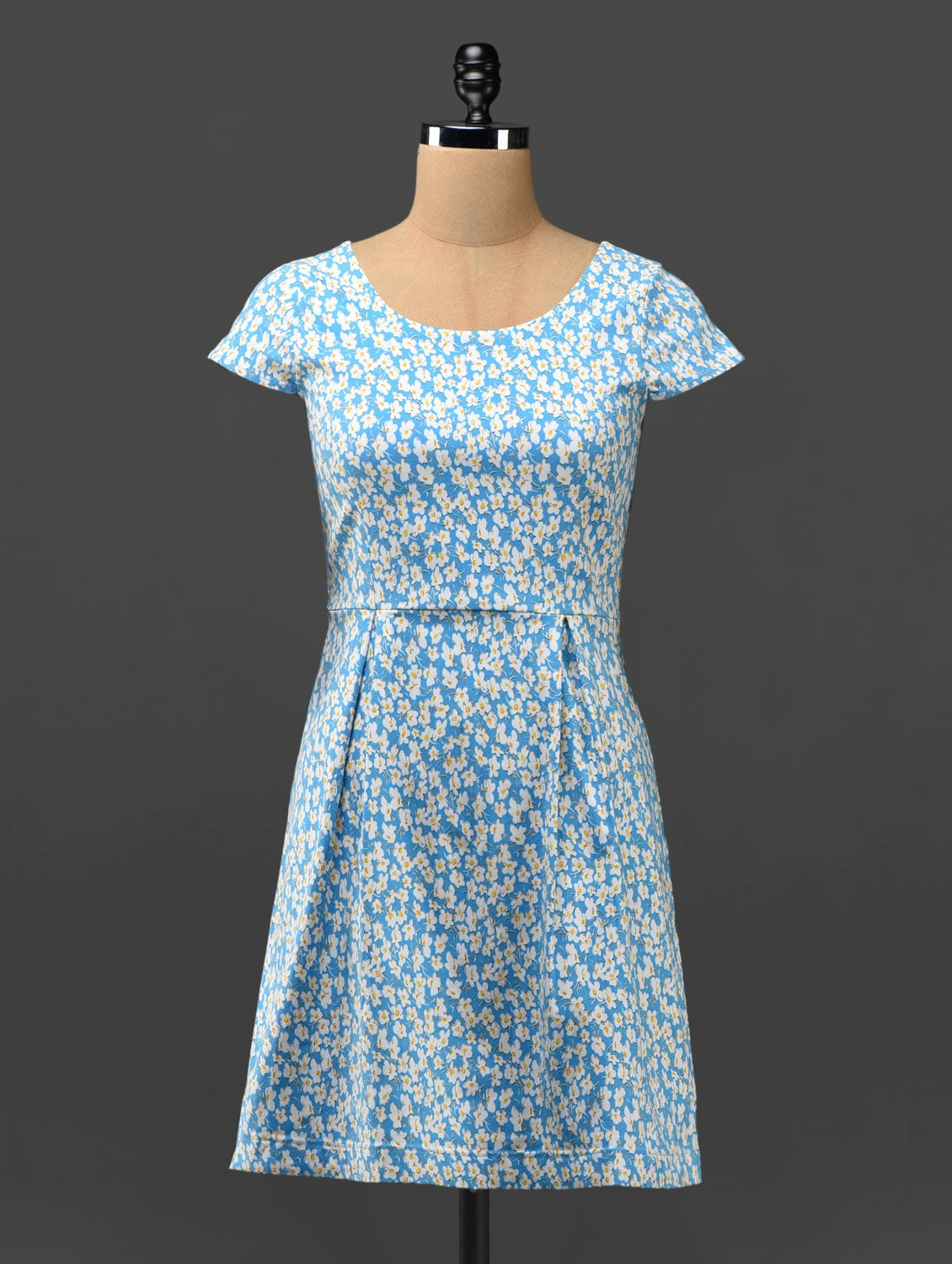 Blue Floral Print Dress With Cut-out Back - Phenomena