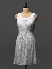White And Grey Printed Cotton Dress - Phenomena