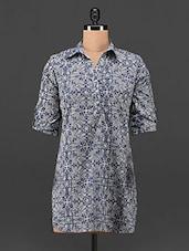 Blue Paisley Print Cotton Shirt - ETHNIC