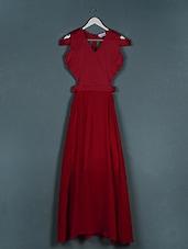 Solid Red Cut-out Sleeveless Dress - Liebemode