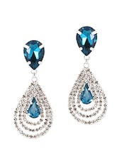 Blue Metal Alloy & Stone Earrings - Stylisda
