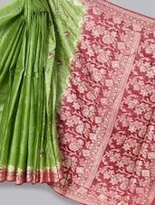 Maroon And Green Art Silk Banarasi Saree - Prabha Creations