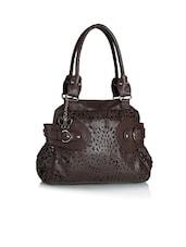 Brown Cut Work Leatherette Shoulder Bag - BUTTERFLIES