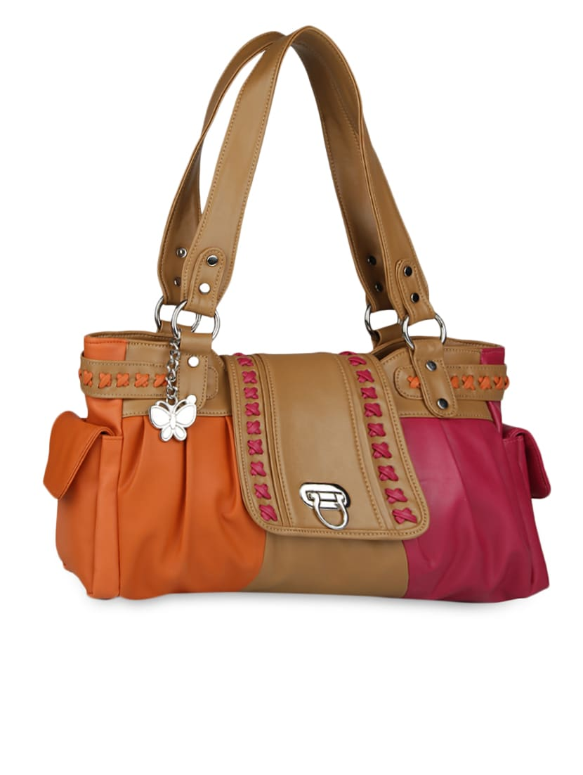 color block leatherette hand bag