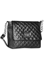 Black Quilted Leatherette Sling Bag - BUTTERFLIES