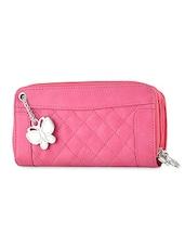 Pink Plain Solid Leatherette Wallet - BUTTERFLIES