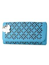 Blue Cut Work Leatherette Wallet - BUTTERFLIES