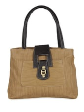Beige Textured Leatherette Handbag - Bags Craze