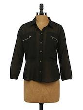Quarter Sleeves Sheer Georgette Shirt - Imu