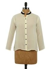 Mandarin Collar Georgette Shirt - Imu