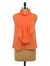 Orange Front Frills Georgette Top - Imu
