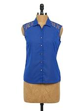 Blue Sleeveless Georgette Shirt - Imu