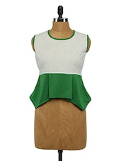 Sleeveless Colour Block Asymmetric Cotton Top - Imu