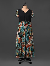 Printed Short Sleeves Polyester Maxi Dress - UPTOWNGALERIA